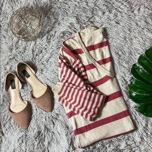 American rag pink and creme striped sweater M